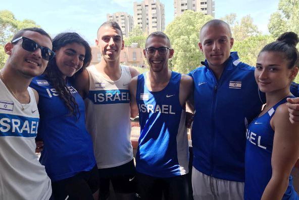 משלחת האתלטים (מימין לשמאל): ויסמן, אטיאס, ארד, חיון, ולאנו ויעקובי